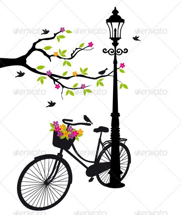 590x700 Bicycle With Flowers And Tree, Vector A Vintage Bicycles