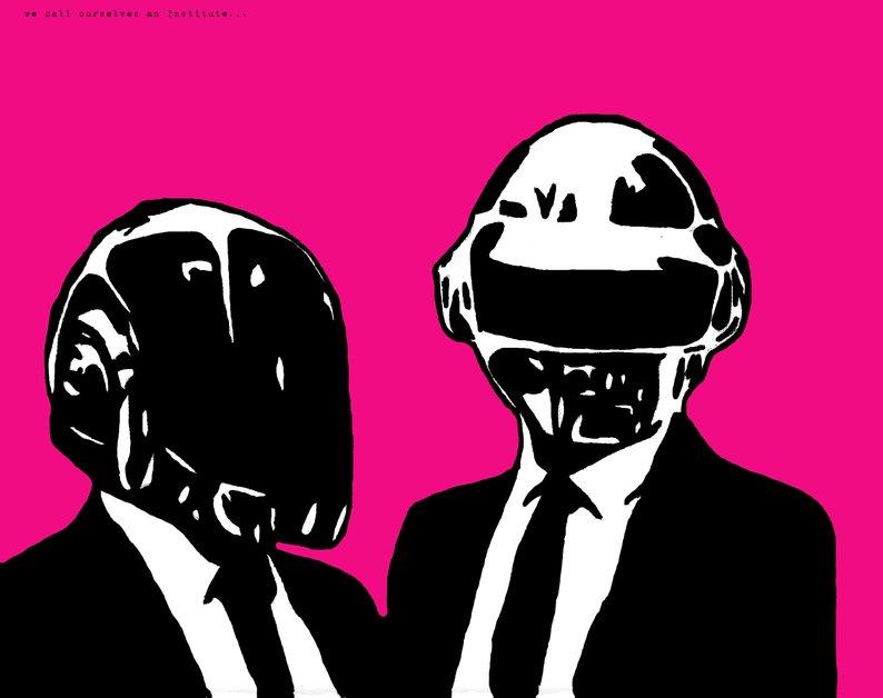 794x628 daft punk art print band poster concert poster pop art etsy