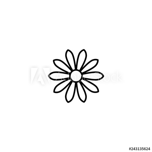 500x500 Outline Flat Icon Of Daisy Flower Line Sign Isolated On White