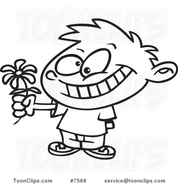 581x600 Cartoon Black And White Line Drawing Of A Sweet Boy Giving A Daisy