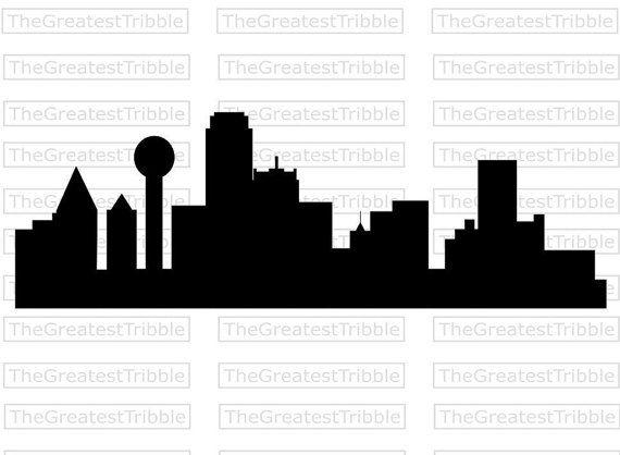 570x418 Dallas City Skyline Silhouette Vector