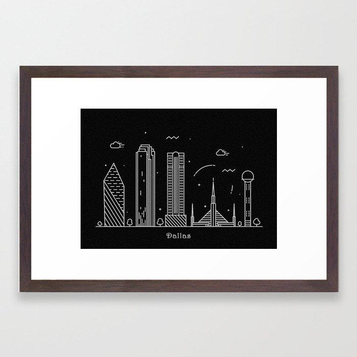 700x700 Dallas Minimal Nightscape Skyline Drawing Framed Art Print
