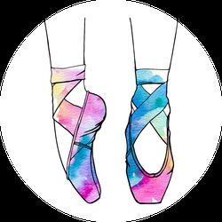 250x250 Watercolor Ballet Dance Shoes Sticker