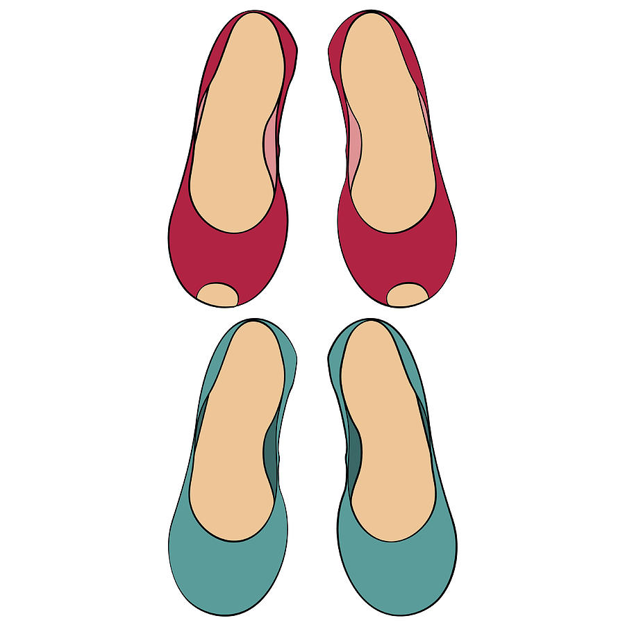 900x900 Color Set Of Two Pairs Of Women's Shoes Without Heels Drawing