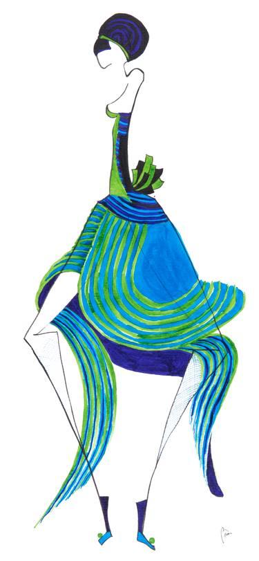 375x811 Dancing Lady Drawing