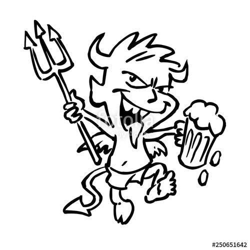 500x500 Devil Boy Dancing With Beer And Pitchfork, Black And White Drawing