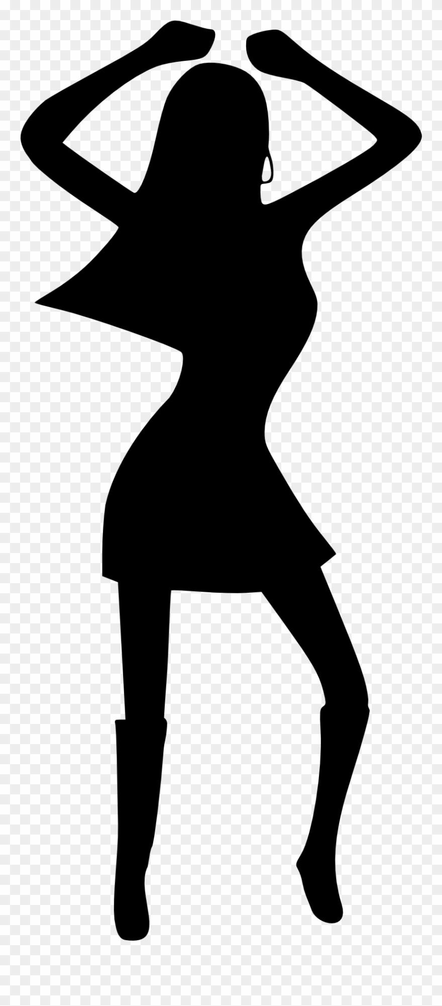 880x2001 Girl Woman Dancing Disco Black White Drawing Silhouette