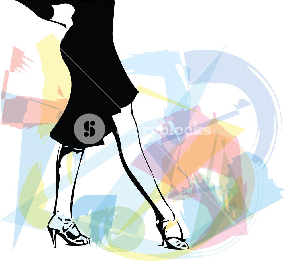 1000x916 Abstract Drawing Of Latino Dancing Woman Legs Vector Illustration