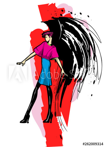 357x500 angel girl dark angel vector image of beauty fashion angel girl