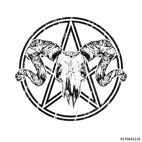 500x500 Beautiful Goat Skull With Pentagram Drawn