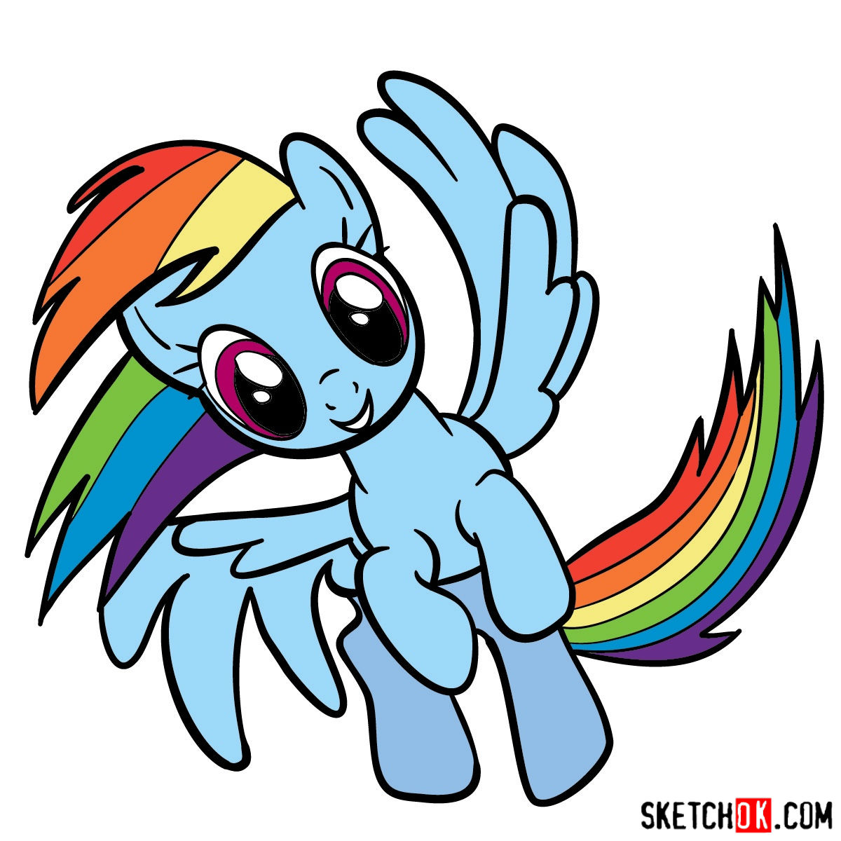 1200x1200 How To Draw Rainbow Dash In A Flight Mlp