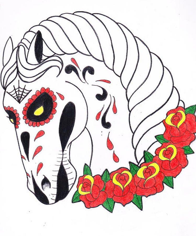749x900 day of the dead horse day of the dead horse drawing dia de los