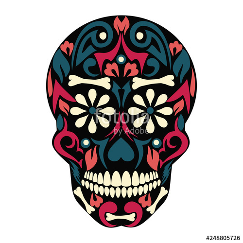 500x500 holy death, day of the dead, mexican sugar skull, day of the dead