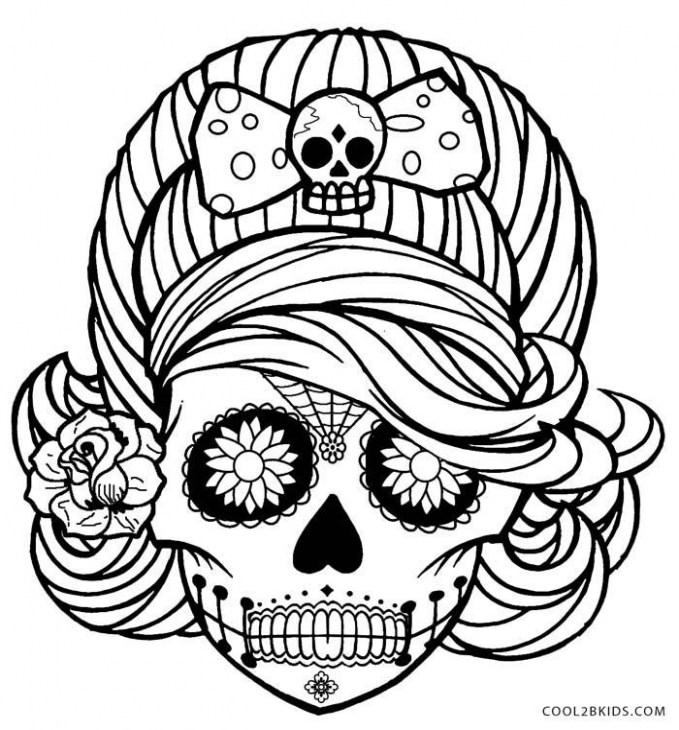 679x730 day of the dead coloring best of primary day the dead skull