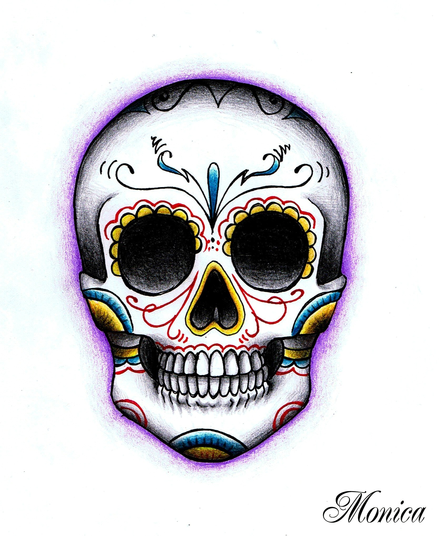 Day Of The Dead Skull Drawings