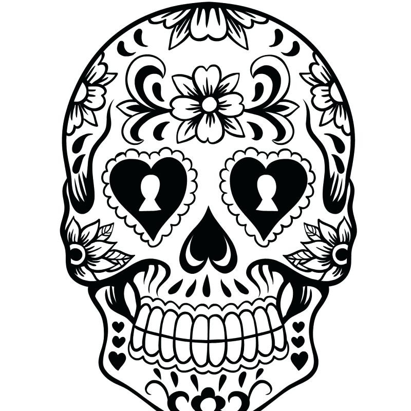 800x800 Day Of The Dead Coloring Sheets Day Of The Dead Skull Coloring