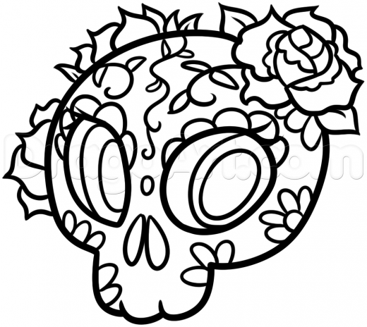 520x464 Step How To Draw Day Of The Dead Skull