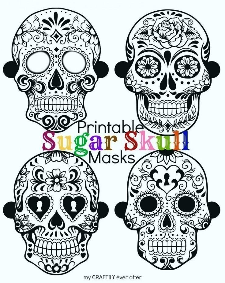 740x930 Sugar Skull Template Printable Coloring Pages Of Skulls Stencils