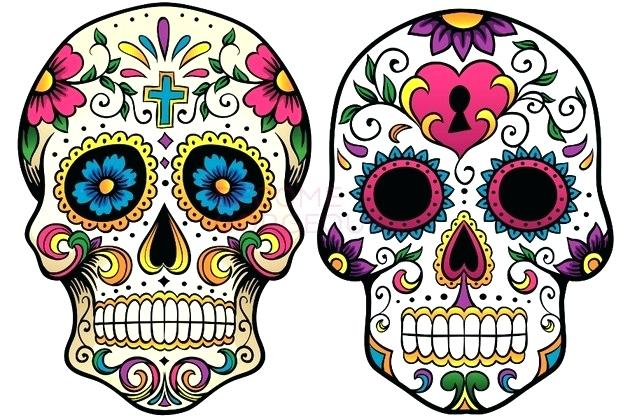 630x420 colorful sugar skull sugar skull black and white easy colorful