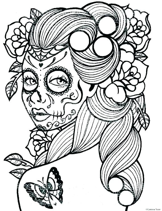 570x738 Coloring Pages Of Sugar Skulls Day Of The Dead Skulls Coloring