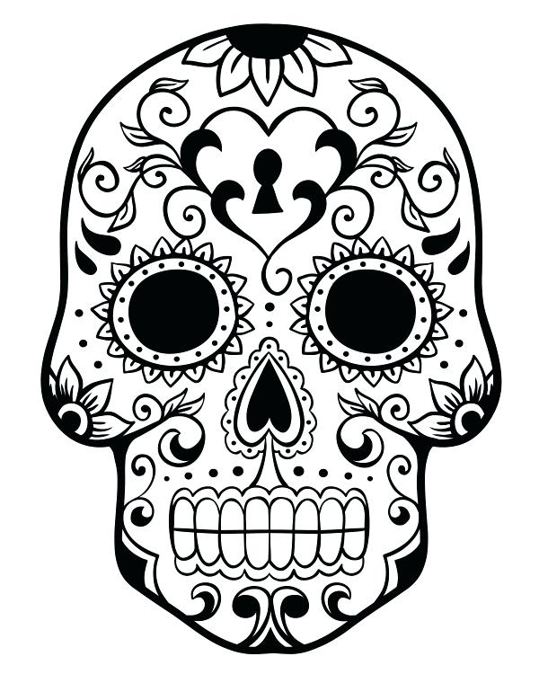 600x750 Day Of The Dead Coloring Skulls Sugar Skull Color Pages Coloring