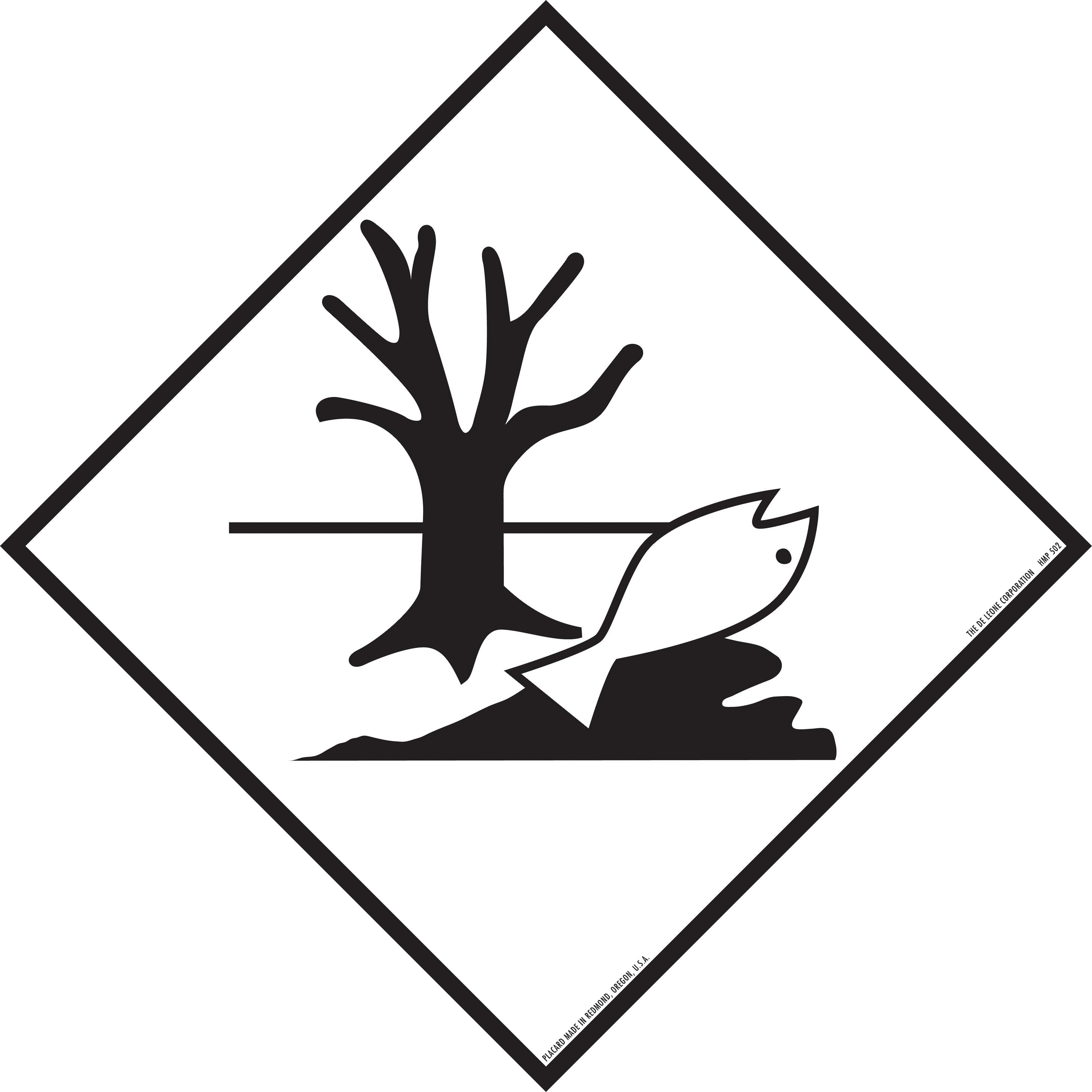 2919x2919 vinyl label dead fish, dead tree, marine pollutant