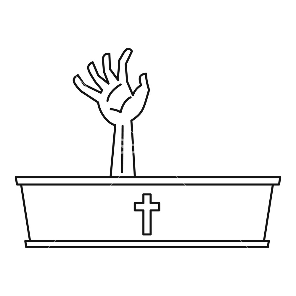 1000x1000 Dead Man Hand Coming Out Of His Grave Icon Outline Illustration