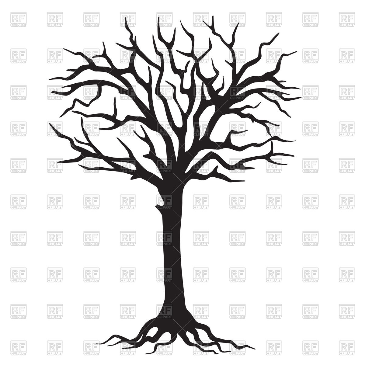1200x1200 deciduous tree with branchy roots in engraving style