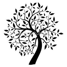 236x236 black and white drawing of deciduous tree black silhouette