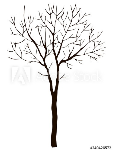 375x500 black vector contour of deciduous simple thin branched tree