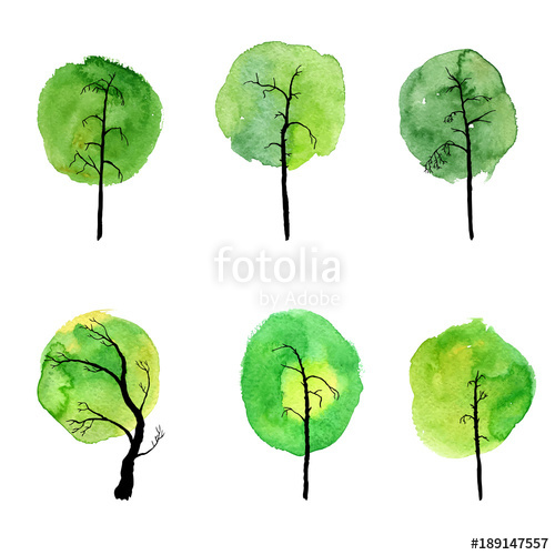 500x500 vector set of deciduous trees stock image and royalty free vector