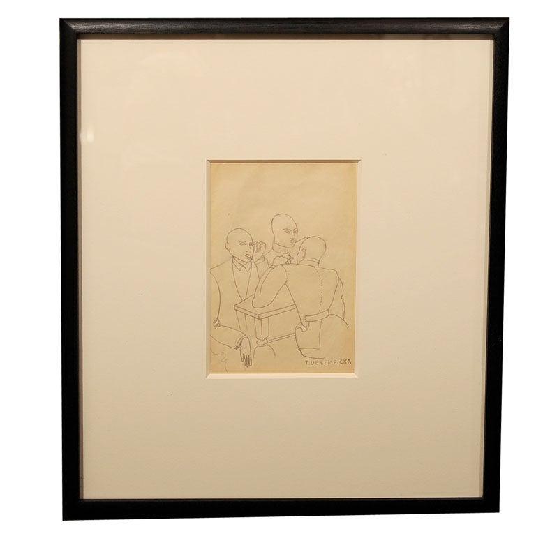 768x768 Art Deco Pencil Drawing La Lecture