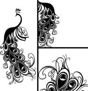 290x300 Black White Art Deco Peacock Drawings