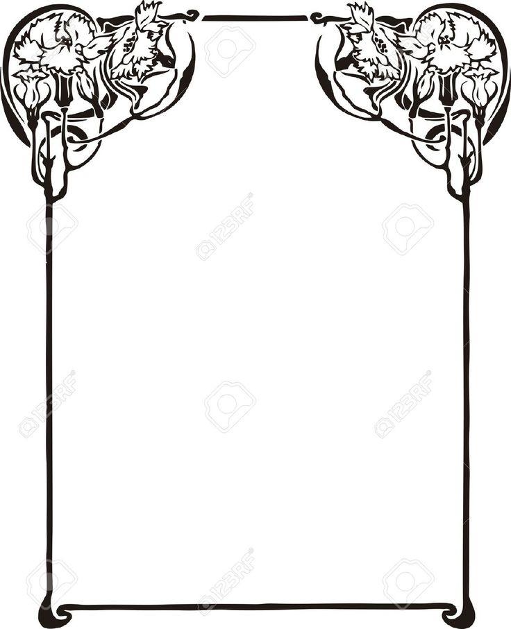 736x907 Download Art Nouveau Border Vector Clipart Art Deco Borders Art