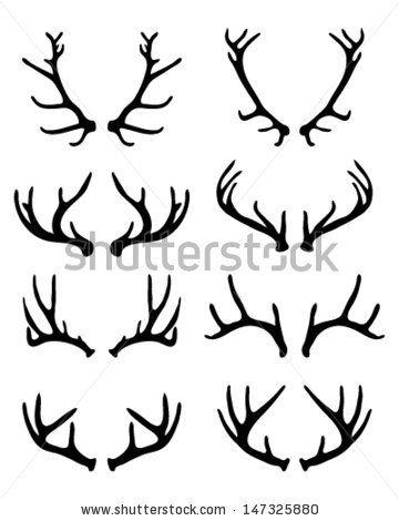 360x470 Silhouettes Of Deer Antlers Vector