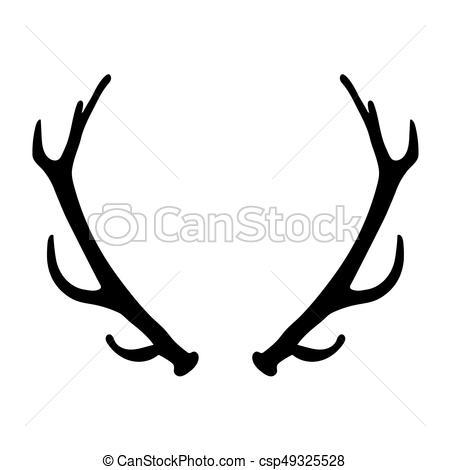 450x470 Black Silhouette Of Deer Antlers Vector Illustration Vector