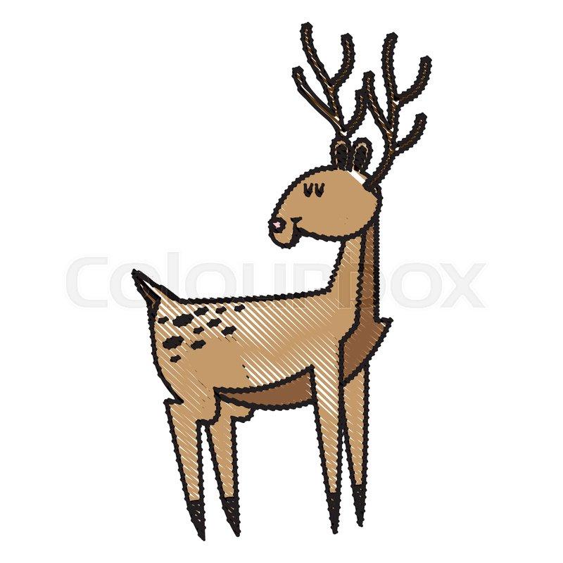 800x800 Cute Deer Cartoon Christmas Horn Image Stock Vector Colourbox
