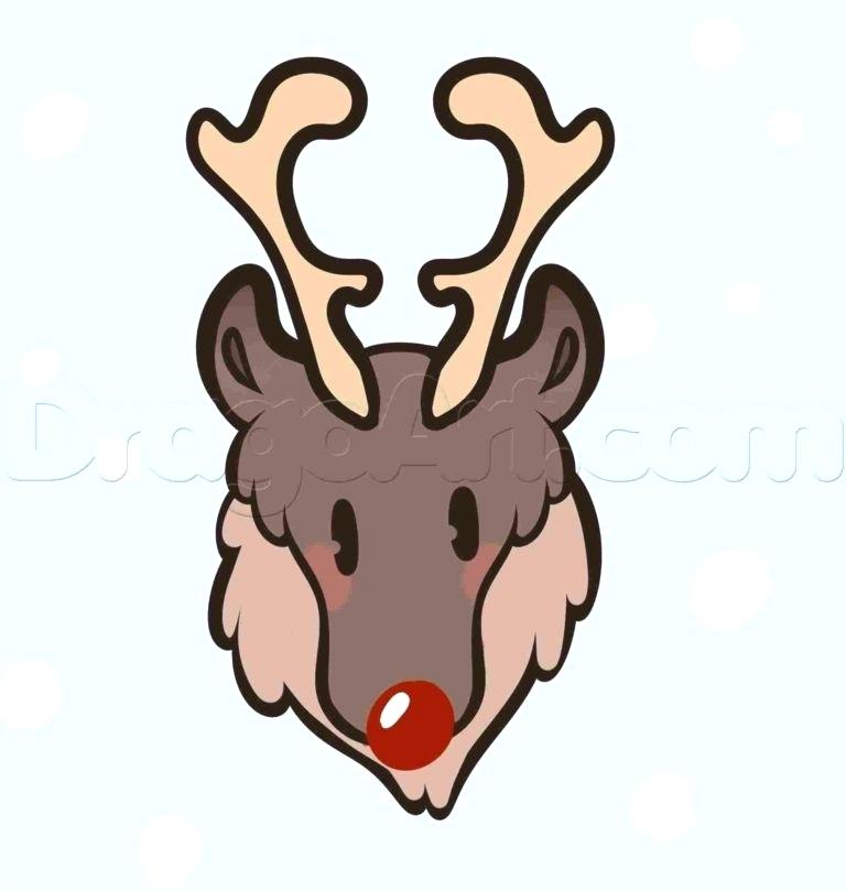768x809 Easy To Draw Reindeer Easy Of A Deer At Com Easy To Draw Reindeer