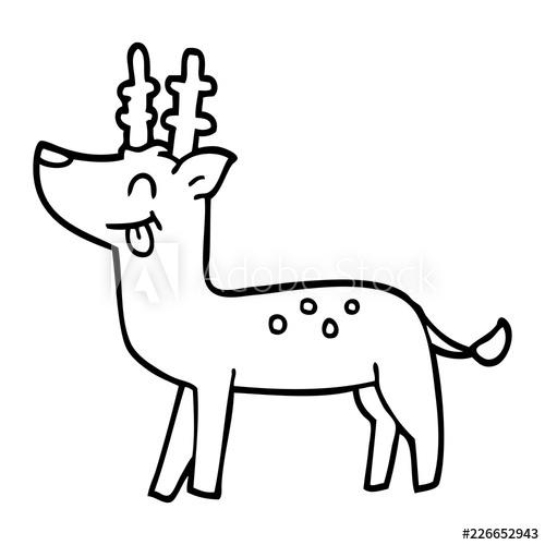 500x500 Line Drawing Cartoon Happy Deer