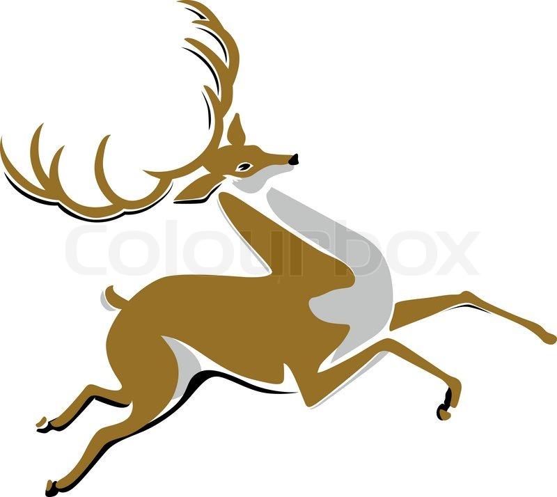 800x714 Cartoon Running Deer Vector Stock Vector Colourbox