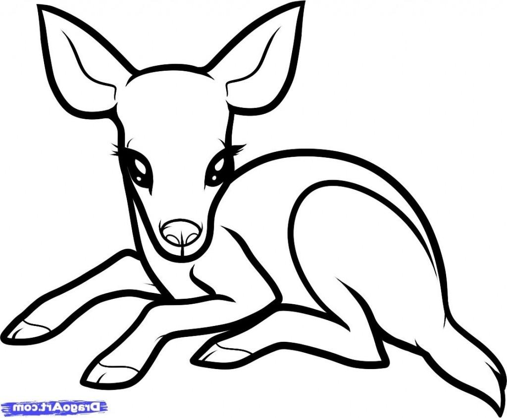 1024x845 Deer Drawing Easy Simple