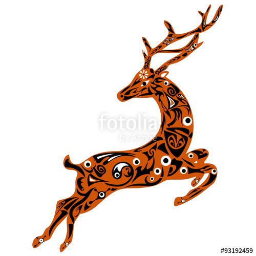 500x500 Deer Illustration, White Flower, Black Curls, Deer Male, Animal