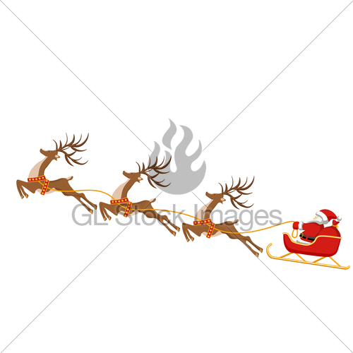 500x500 New Year, Christmas Drawing Of Deer And Sleigh Of Santa Gl