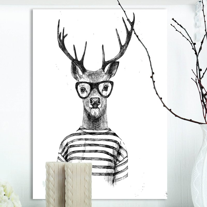 800x800 Wrought Studio 'dressed Up Deer' Drawing Print On Wrapped Canvas