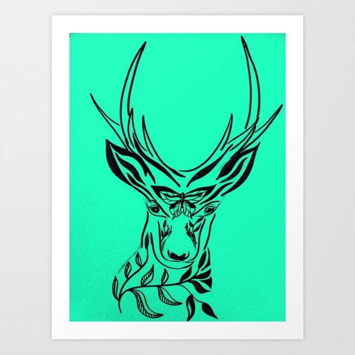 700x700 aqua deer, deer head with antlers, drawing of a deer head art