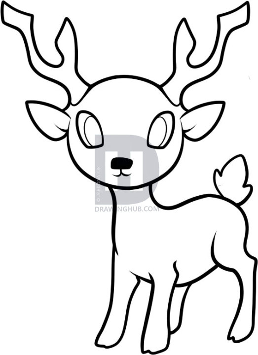 523x720 How To Draw A Deer For Kids, Step