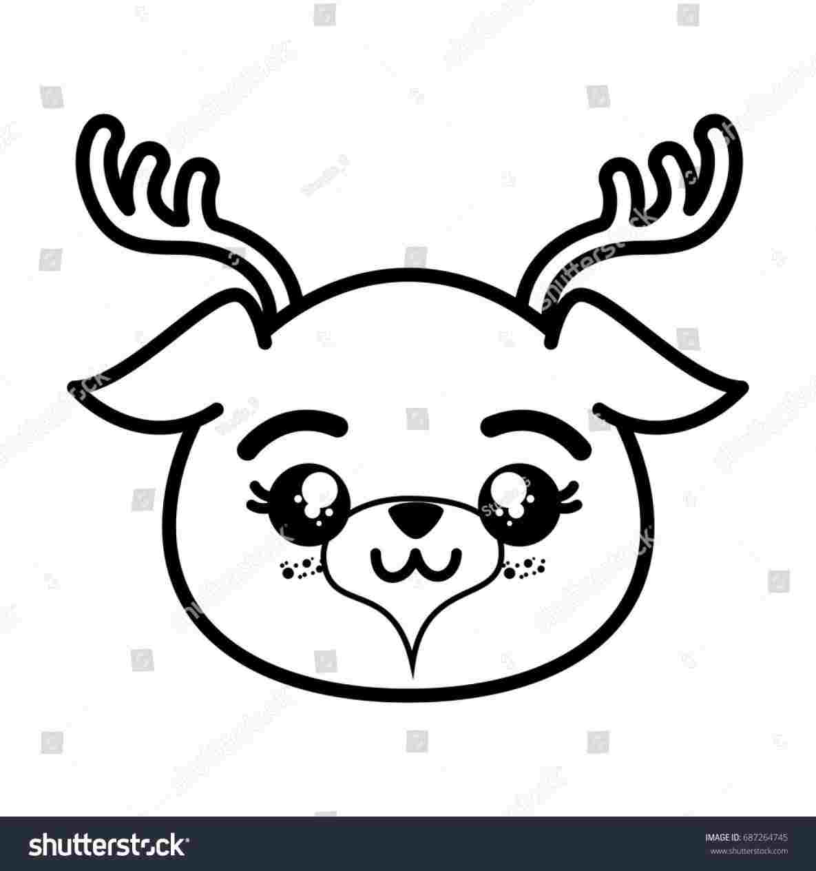1185x1264 Cute Deer Face Drawing