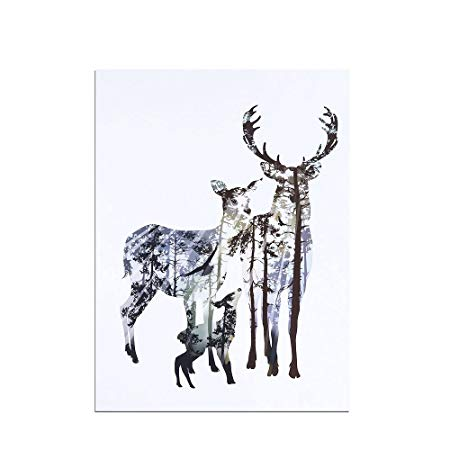 450x450 decorative modern canvas painting a family deer pattern pattern