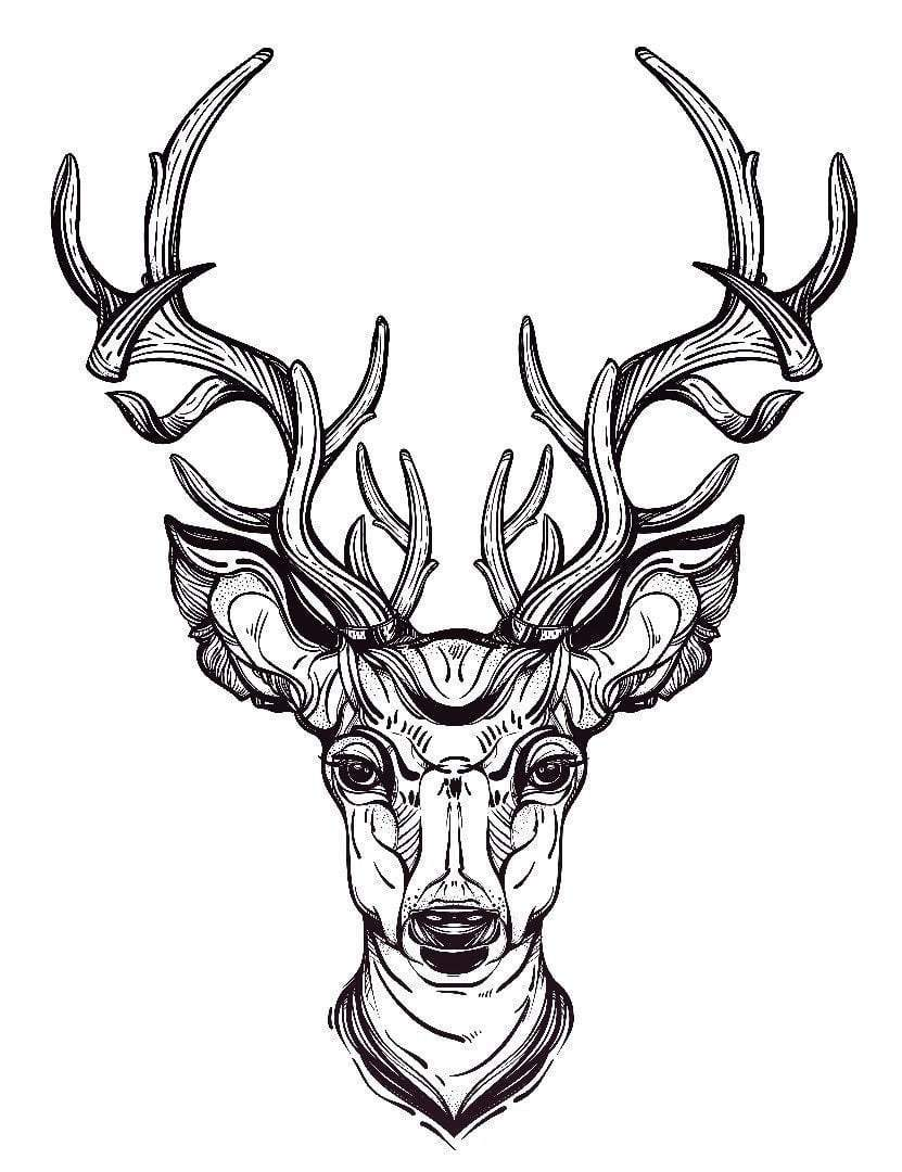 831x1080 Deer Head Temporary Tattoo And Deer Head Fake Tattoos
