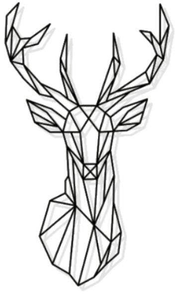 352x591 Laser Cut Metal Geometric Deer Head Wall Decor Black Souq